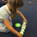 "The 'Code-a-Pillar' is a wonderful example of tangible coding. Children create a sequence of commands by building a caterpillar-like creature. Each segment of the Code-a-Pillar communicates an action to the ""brain"" of the creature — actions such as moving forward, turning right, or turning left.